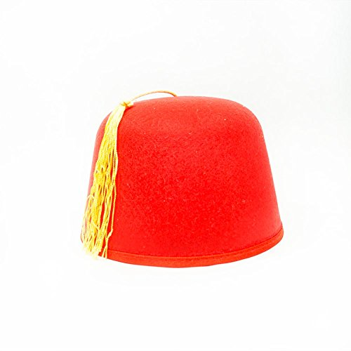 Jacobson Hat Company Men's Fez with Gold Tassle 5 Inch Tall, Red, Adult -