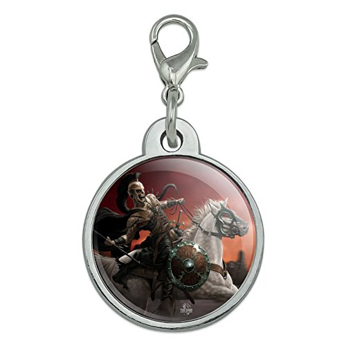 (Graphics and More Dark Undead Skeleton Warrior Rider Fantasy Chrome Plated Metal Pet Dog Cat ID Tag - Small)