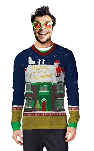 Faux Real - When Santa Has To Go Ugly Sweater Long Sleeve T-Shirt - Medium (Go Ugly T-shirts)