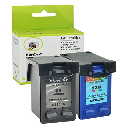 (NineLeaf Remanufactured High Yield Ink Cartridge Replacement for HP 56 C6656AN HP 22 C9352AN Officejet 5610xi 5610v 5605 5607 5608 5609 5610 5615 5679 5680 All-in-One (1 Black 1 Color,2 Pack))