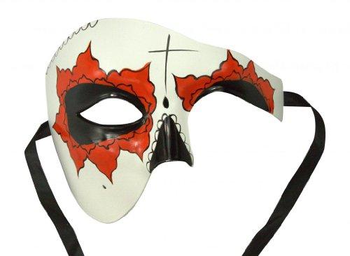 Day Of The Dead Adult Half Mask (KAYSO INC Day Of The Dead Masks - Dia De Los Muertos Half Face Masquerade Masks, Yucatan)