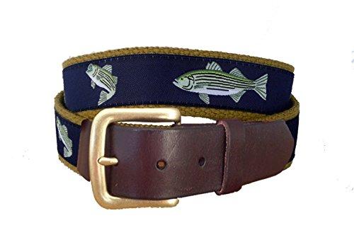 Striped Mens Khakis - No27 Men's Striped Bass Nautical Leather Belt, Striped Bass Ribbon on Khaki, Size 36 waist