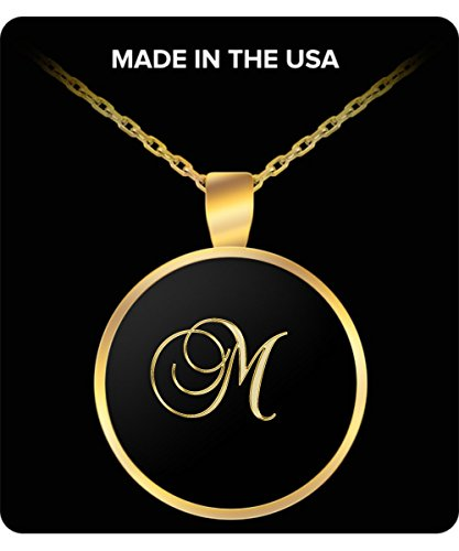 M Initial Necklace - Round Gold Plated Chain Pendant - Name - Macys Maine