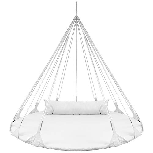 Sorbus Hanging Swing Nest Pillow, Double Hammock Daybed Saucer Style Lounger Swing, 264 Pound Capacity Indoor/Outdoor Use (Swing Nest - White) ()