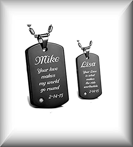 Personalized Engraved His & Hers Stainless Steel Black Dog Tag Necklaces Pendant Set (His Hers Dog Tags)