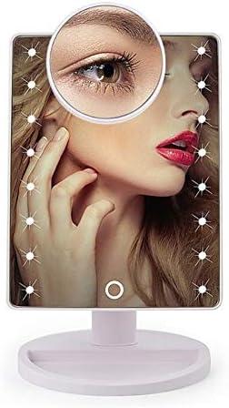 180°回転と化粧鏡22のLEDライトタッチスクリーンバニティミラー、1X、10X拡大鏡二電源モード (Color : White 22LED)