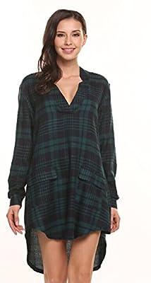 Zeagoo Women Long Sleeve V-Neck Plaid Casual Shirt Dress Tunic Top Pockets