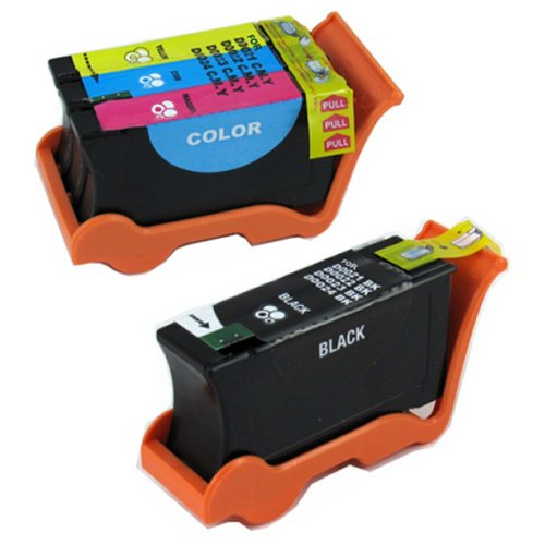 Amsahr U313R Compatible Replacement Dell Ink Cartridges for Select Printers/Faxes - 1 Black/1 Color