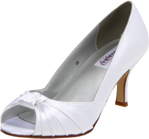 Dyeables Women's Ida Peep-Toe Pump,White Satin,8 B US