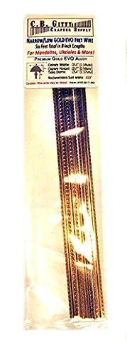 Mandolin/Ukelele/Dulcimer Fret Wire - Jescar Narrow/Low GOLD - Four Feet (Ukulele Fret Wire)