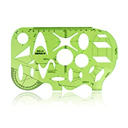 Green Plastic Mathematics Metric Circle Triangle Oval Parallelogram Shapes Drawing Drafting Template Stencil
