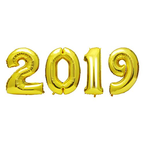 AOFEN 40inch Gold 2019 Number Foil Balloons,2019 Graduation Decorations New Years Eve Party Supplies