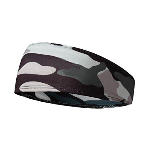 GREFER Unisex Hair Head Band Sweatband Headband Thin Stretch Mens Wrap Elastic Great for Sports Gym (Medium, Camouflage) ()