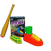 HK Toys Automatic Pitcher Play Baseball Game, Unbreakable Body, Includes 1 Bat, 3 Balls, Pitcher