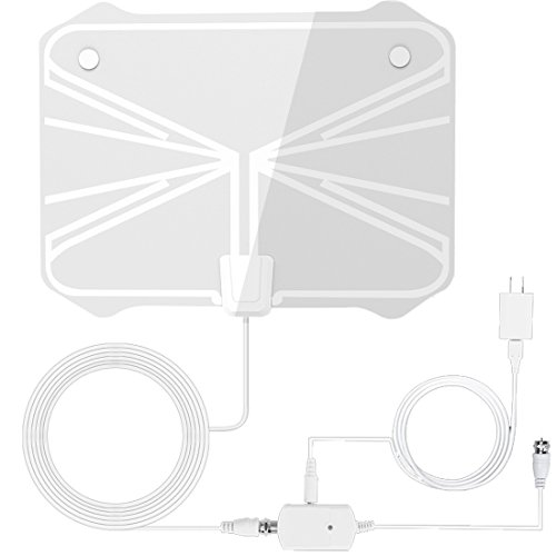 Price comparison product image TV Antenna, Reignet 50 to 70 Mile Range Amplified Indoor HDTV Antenna with Detachable Amplifier Signal Booster and 16.5FT Coax Cable - White