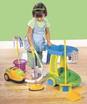 Kids Pretend Play Cleaning Trolley Set
