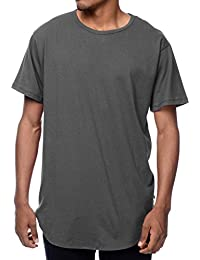 MX Mens Basic Hipster T Shirts Hip Hop Longline Crewneck Casual Scallop Tee