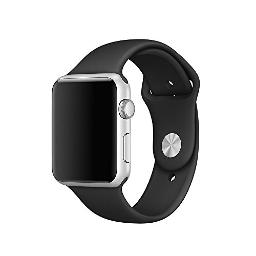 Silicone 38mm Watchband for iWatch Apple (Black) - 2