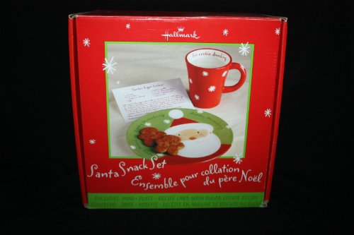 Hallmark Santa Snack Set - Mug, Plate, and Recipe Card with Sugar Cookie Recipe