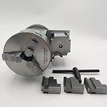 4th Axis K11-100 3-Jaw Lathe Chuck 100mm Nema23 Motor CNC Router Rotary A Axis