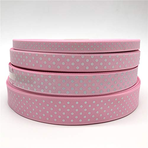 Plastic Ribbon - 10mm 15mm 20mm 25mm Ribbon Pink Printing Dot Hair Bow Party Christmas Wedding Decoration DIY Gift Wrapping by Ganos