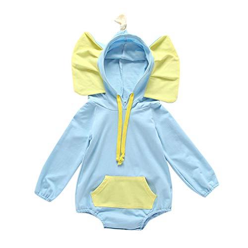 - Yaseking Toddler Newborn Baby Boy Girl Cartoon Printed 3D Elephant Stereo Ear Bodysuit Romper Costume Clothes (90, Deep Blue)