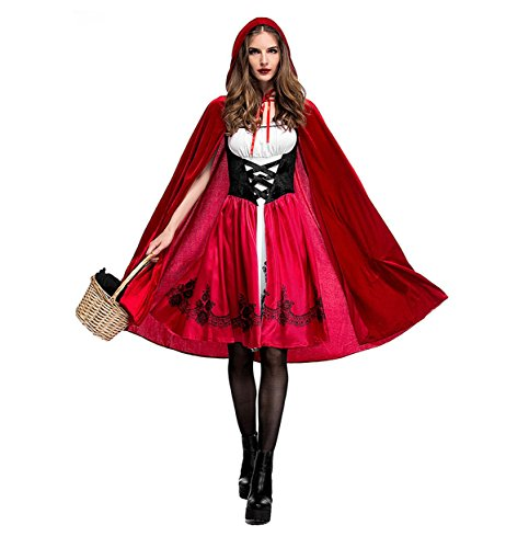 Boleyn Little Red Riding Hood Costume Sexy Halloween Fairy Tale Dress for Women (Medium) -