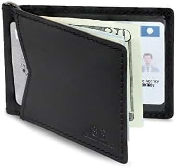 SERMAN BRANDS - RFID Blocking Leather Money Clip Slim Wallet, Minimalist Front Pocket Wallets For Men Made From Full Grain Leather