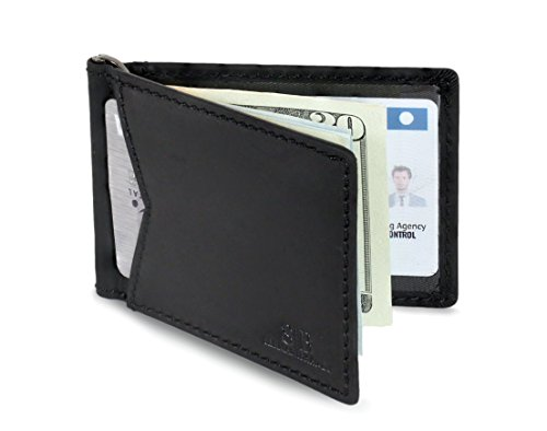 SERMAN BRANDS – RFID Blocking Leather Money Clip Slim Wallet, Minimalist Front Pocket Wallets For Men Made From Full Grain Leather (Charcoal Black M1)