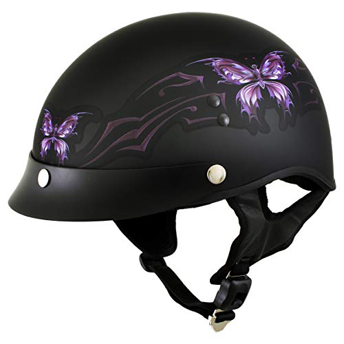 Outlaw T70 'Purple Butterfly' Advanced DOT Motorcycle Half Face Helmet - Large