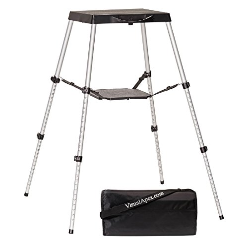 Visual Apex Portable Projector Table Stand with Shelf & Projector Carry Bag, Adjustable 18.5