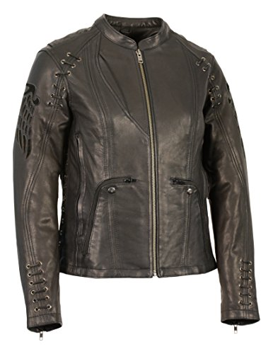 Milwaukee Leather Women's Scooter Jacket with Cutout Wings (Black, - Wallet Milwaukee Leather