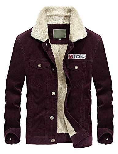 (Lentta Mens Winter Slim Short Military Sherpa Lined Corduroy Trucker Jacket Coat (Medium, A-Wine Red) )