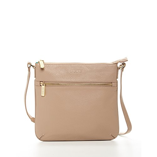 Leather Crossbody Bags For Women - Beige Cross body Purse Tan Small Purses and Handbags Cross over Flat Messenger Bag Nude Light Weight Cute Hand bags Long Strap Designer Summer Handbag for Travel