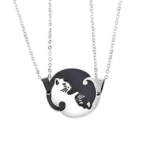 Black White Kitten Hug Pendant Round Stitching Couple Necklace