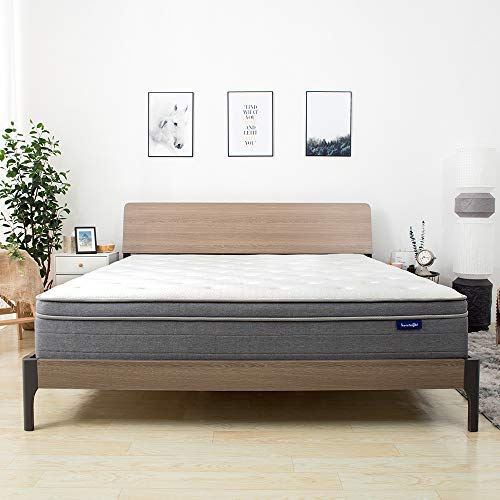 Sweetnight 10 Inch Queen Mattress In a Box - Sleep Cooler with Euro Pillow Top Gel Memory Foam, Individually Pocket Spring Hybrid Mattresses for Motion Isolation, CertiPUR-US Certified, Queen Size (Reviews For Serta Perfect Sleeper Euro Top Mattress)