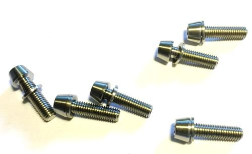 carbonenmy 6 St Titan Schraube M5 x 18 mm Vorbau Schrauben konisch DIN 912 Silber
