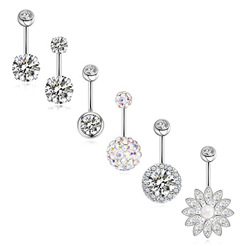 (SEVENSTONE 6PCS Stainless Steel Belly Button Rings for Girls Women Screw Navel Piercing Bars Body Jewelry )