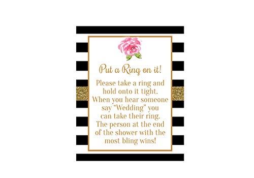 Put a Ring on It Bridal Shower Game, Bridal Shower Sign, Black and White Bridal Shower, Black and White Bridal Shower Decorations, Bridal Shower Games, Bridal Shower Sign, 8x10 Glossy ()