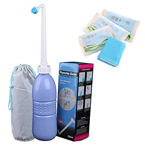 Portable Bidet Sprayer and Travel Bidet with Hand Held Bidet Bottle for Personal Cleansing Use - Include Extended Nozzle - Personal Hygiene Care Toilet Bidet Shower/Bathroom Bidet Spray -21.8oz(620ml)
