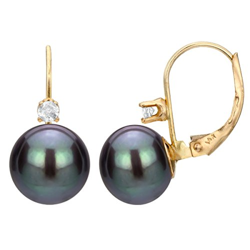Diamond Floral Shapes Earrings - 14KY Gold 1/10cttw Diamond 9-9.5mm Button Shape Dyedblack Freshwater Cultured Pearl Leverback Earrings