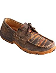 Twisted X Womens Leather Distressed Tiger Driving Mocs - Wdm0023