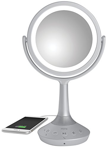 iHome iCVBT5 6 Double-sided Vanity Mirror with Bluetooth Audio / Speakerphone and USB Charging (Silver)