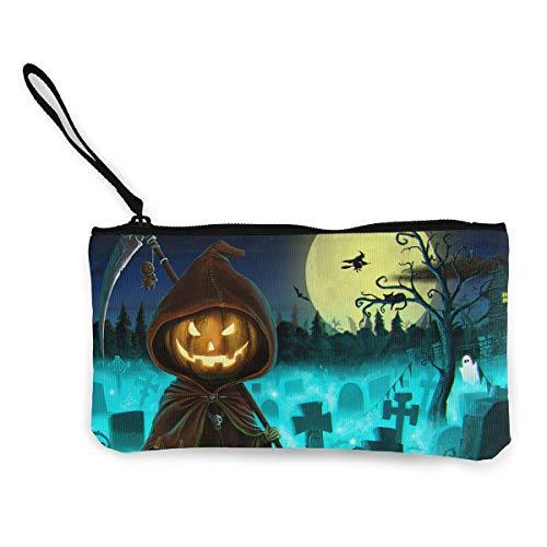 Coin Purse Happy Halloween Pumpkin Grim Reaper Cute Travel Makeup Pencil Pen Case With Handle Cash Canvas Zipper Pouch 4.7
