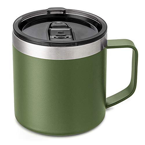 Lafaso 14oz Stainless Steel Coffee Mug With Handle,Double Walled Vacuum Travel Insulated Coffee Mug With Lid, Powder Coated Cup Equipped With 2 Lids
