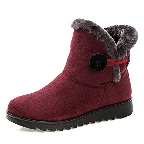 Flat Skid Lining Plush Winter Outdoor On Anti Snow Red Womens Boots KUBAO Slip Ankle Waterproof ZgPqPp