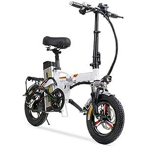 41gWXKOCpQL. SS300 Bici elettrica Pieghevole Portatile, Batteria elettrica da 14 Pollici Rimovibile Batteria Ebike Due Freni a Disco…