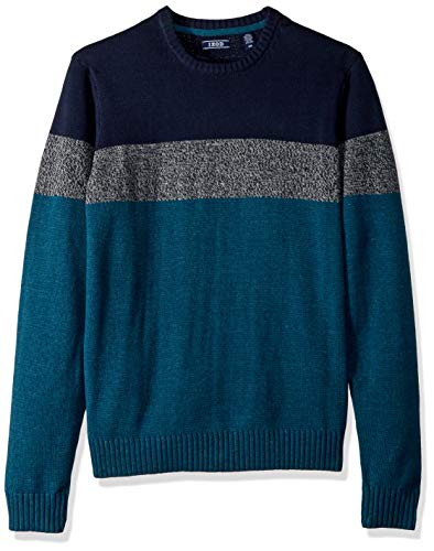 IZOD Men's Stripe 7 Gauge Crewneck Sweater, one Legion Blue, X-Large