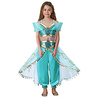 Pettigirl Girls Blue Sequin Classic Princess Dress Up Costume Outfit 4-7 Year (100, Blue)