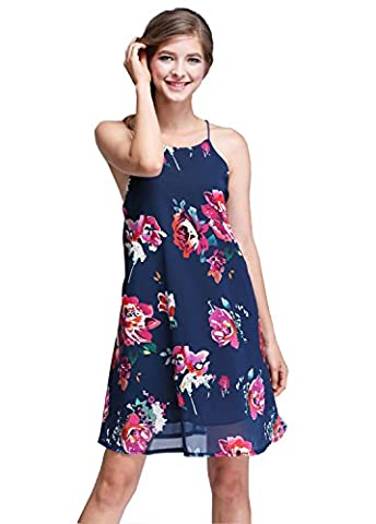 SVALIY Women Halter Neck Sleeveless Floral Chiffon Casual Short Party Dresses Small